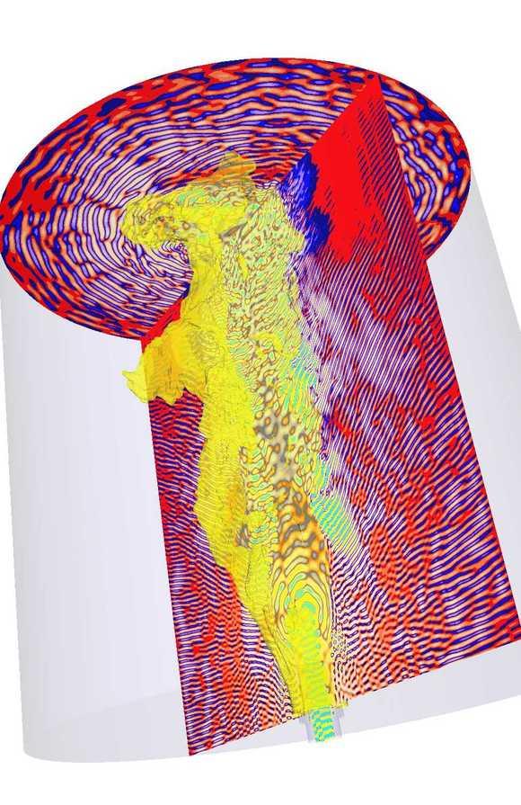 Schnappschuss aus der Computersimulation: Eine turbulente Methan-Jet-Flamme (mittig, gelb) und die dazu gehörenden Druckwellen (blaurote Schnitte), die als Lärm wahrnehmbar sind. (Bild: Zhang/KIT)