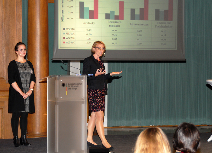 Laura Bechthold und Laura Rosendahl Huber auf dem Tag der Vorbild-Unternehmerinnen im Bundesministerium für Wirtschaft und Energie (BMWi) in Berlin (Foto: BMWi/Andreas Mertens)