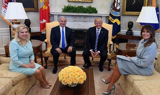 Sara und Benjamin Netanjahu zu Besuch in Washington bei Donald und Melania Trump, März 2018, Foto: PMO