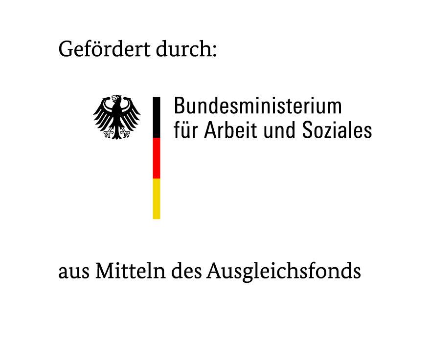 Logo BMAS. Gefördert durch: Bundesministerium für Arbeit und Soziales aus Mitteln des Ausgleichsfonds