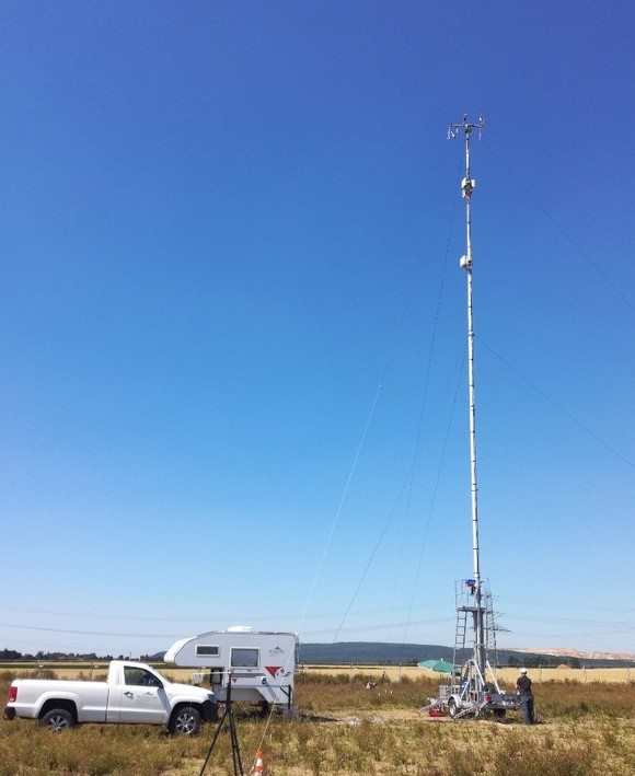 Mobiles Eddy-Kovarianz-System des KIT zur Messung des Biosphäre-Atmosphäre Austauschs von Wärmeenergie, Wasserdampf und anderen Treibhausgasen auf einer Messfläche. (Foto: Matthias Mauder/KIT)